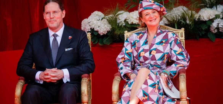 Delphine Boël en la ceremonia de la Fiesta Nacional en el Palace des Palais